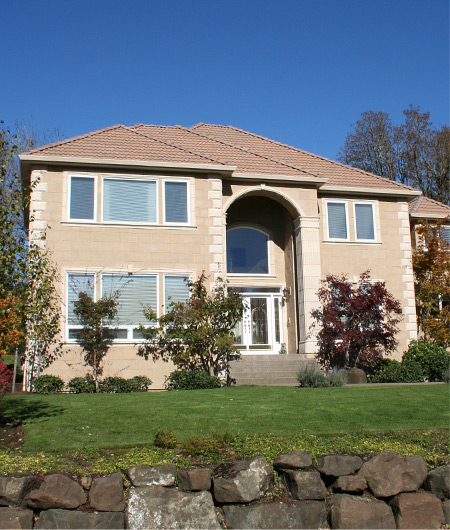 Castia Stone Desert Sand Slate was chosen for the body of this house